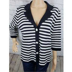 Exclusively Misook Black & White Striped Blazer